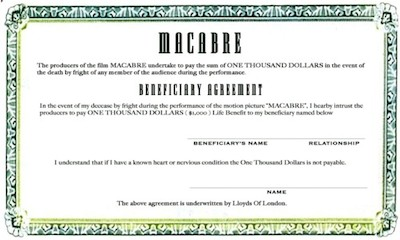 Insurance policy certificate for Macabre